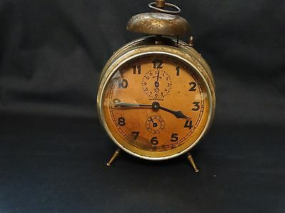 ANTIQUE CLOCK JUNGHANS RARE GERMANY ALARM CLOCK - FOR REPAIR OR PARTS ! No.CAF4