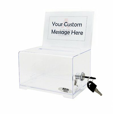 Donation Mail Tip Box w Lock 2 Keys Arcrylic Card Clear Transparent Light Sturdy
