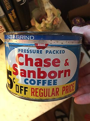 Nice vtg Chase & Sanborn One Pound Coffee Can Advertising Tin with lid