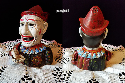 Antique Vintage Cast Iron Clown Mechanical Bank ~ WORKS WELL