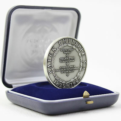 PATEK PHILIPPE 150th Anniversary .925 Silver Coin  Medal with  Case Box