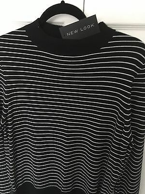 newlook black & white thin knit jumper 14 new