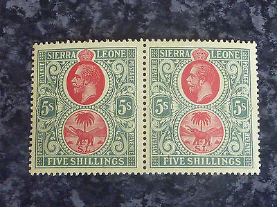 Sierra Leone 5/- Postage Stamps Pair Sg126 Vlmm Red & Green/yellow