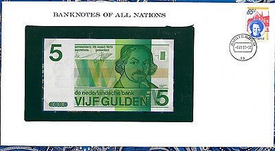 *Banknotes of All Nations Netherlands 5 gulden 1973 P 95 UNC 2486