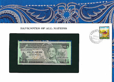 Banknotes of All Nations Ethiopia 1976 1 Birr P30b UNC Birthday note 1960