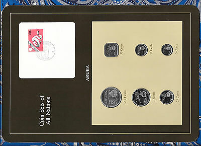 Coin Sets of All Nations Aruba w/card all 6 coins 1993 but 2 1/2 Florin 1986 UNC