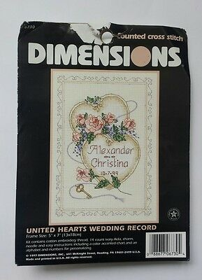 Dimensions Counted Cross Stitch Kit Complete New United Hearts Wedding Record
