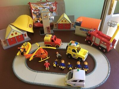 Fireman Sam Bundle With 4 Buildings ,track,vehicles ,figures And Rescue Boat