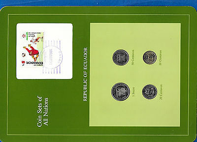 Coin Sets of All Nations Ecuador wcard UNC 1976-1985 1 Sucre 85 20 centavos 1981