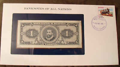 Banknotes of all Nations Nicaragua 1 Cordoba 1968 P115 UNC Serie B