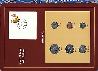 Coin Sets of All Nations Zimbabwe 1980-1991 UNC $1 1980 1,10,20 cents 1991