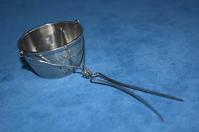 Antique French Hallmarked Sterling Silver Basket Bucket Spout Tea Strainer
