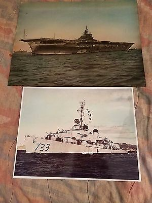 Vintage Lot Of 2 Ww Ii Photos Of Navy Air Craft Carrier & Destroyer