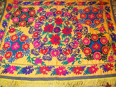 ANTIQUE UZBEK VINTAGE HAND EMBROIDERY SUZANI Wall Hanging Quilt Bedding