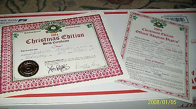 Cabbage Patch Soft Sculpture Birth Cert/adopt Paper Xmas Ed 84 Boy