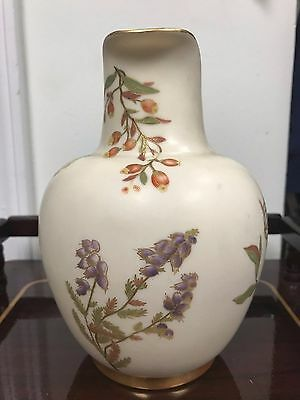 Medium Sized Royal Worcester Small Gold Handle Porcelain Pitcher