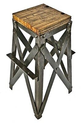 Heavy Gauge Steel Stand Or Side Table With Custom Oak Wood Railroad Floor Top