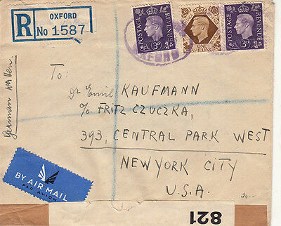 England Oxford To New York 1940 Registered Air Mail Cover Opened By Censor