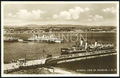 General View - DOUGLAS - Isle of Man - 1929 - real photo postcard.