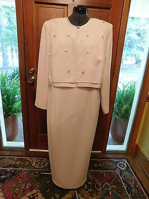 Beautiful Mother Of The Bride Light Pink Crepe Formal With Long Sleeves Sz 16W