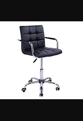 PU Leather Computer Chair, Adjustable Height-Black