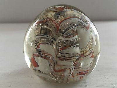 Murano Studio Red & White Stripe Abstract Wave Art Glass Paperweight