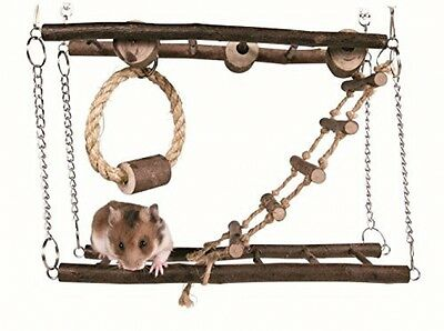 Small Pet Toy Suspension Bridge Hamster Exercise Wooden Rope Cage Playground NEW