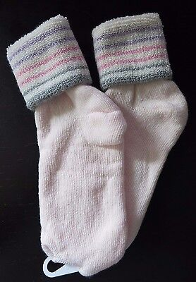 Vintage 1980s Pink w/Multi-Stripes Terry Cloth Turned Cuff Anklet Socks