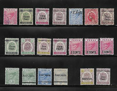 1890's Onwards Collection  Malaya Perek / Pahang / Sembilan Stamps Used & Unused