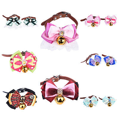 Pet Cat PU Leather Lace Collar Pet Dog Puppy Rhinestone Bow Collar With Gift Box