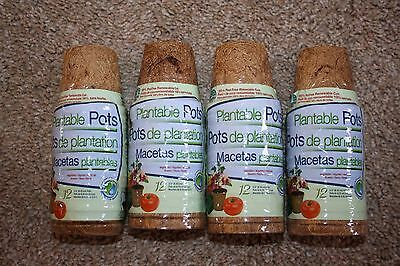 "48 Planters Pride Plantable Coir Pots 2 1/2"" Biodegradable Fiber Seed Starting"