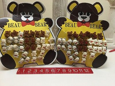 """Large Lot Of Vintage Tiny 1"""" Beau Bear Teddy Lapel Pin Brooch Fuzzy Craft Party"""
