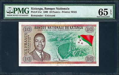 Katanga 1960 P-5Ar PMG Gem UNC 65 EPQ 10 Francs *Fully Printed Remainder*