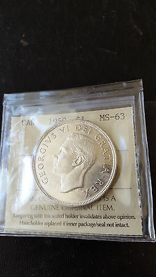 "CANADA 1950  *SILVER  DOLLAR*  ""FWL""   *Certified MS-63*    ""MINT STATE"""