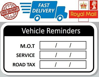 48 x Vehicle Reminder Labels Next Service MOT Road Tax Stickers With Date Box