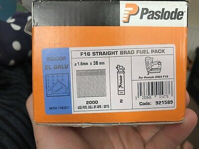 PASLODE F16 Straight Brad Fuel Pack 4 Gas  Half Box Of 38mm Nails