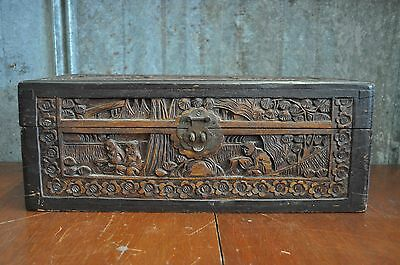 Antique Oriental Camphor Chest Hand Carved Very Detailed