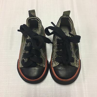 Toddler Boys Shoes Sz 4 Canvas Camouflage Lace Up Sneakers Casual Green Black