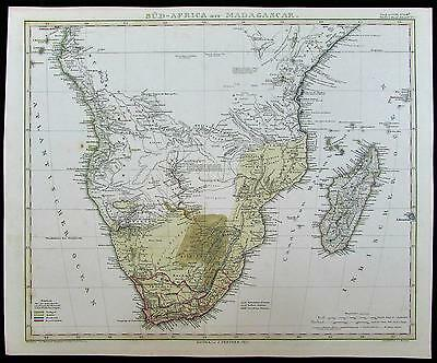 South Africa Madagascar Congo European colonies 1855 old antique color map