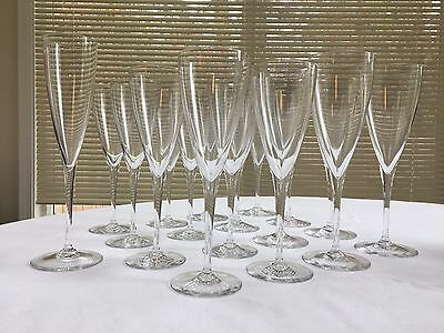 "Baccarat Dom Perignon Crystal Stemware: 8 - 8 7/8"" Water and 8 - 8 1/8"" Wine + 1"