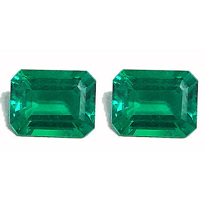 STUNNING PAIR OF 2 Pcs 4.00 Ct COLOMBIAN GREEN COLOR BIRON LAB CREATED GEMSTONE