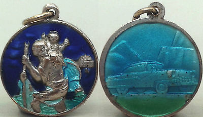 Vintage St. Christopher's medal, enamelled, Made in Italy