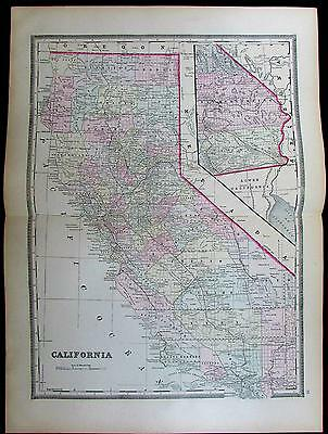 California state very large 1885 Bradley old antique hand color map