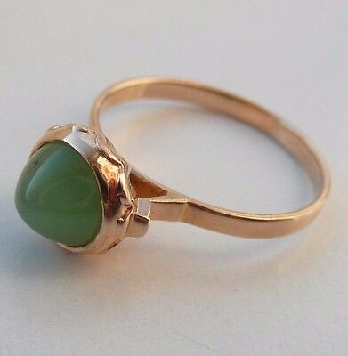 Vintage  Soviet  Russian 583,14k Solid  Gold  Ring With  Nephrite  Size 7,75