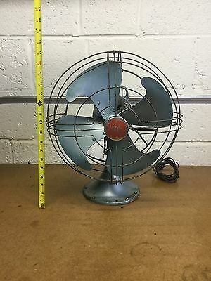 "Vintage General Electric GE Oscillating VORTALEX Fan 14"" Ocean Blue"