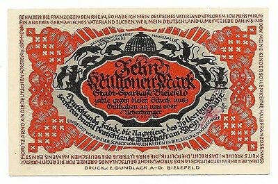**1923 BIELEFELD Germany INFLATION Banknote - 10 Millionen Mark German Currency