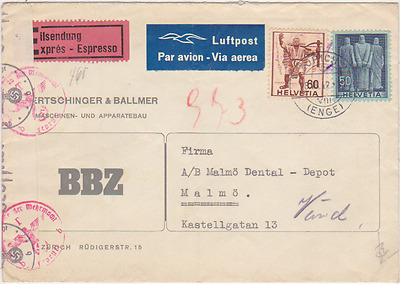 SWITZERLAND 1942 register cover sent to Malmö Sweden opened by Nazi censor