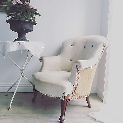 Genuine French Antique Vintage Deconstructed Button Back Armchair /Chair