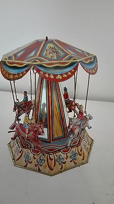 Vintage SPINNING Horse Go Round Tin Toy made in  GERMANY