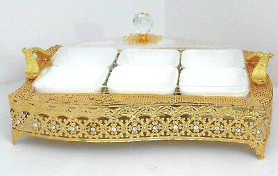 Handle & metal serving tray with 6 ceramic condiment bowls/Home decorative #1821
